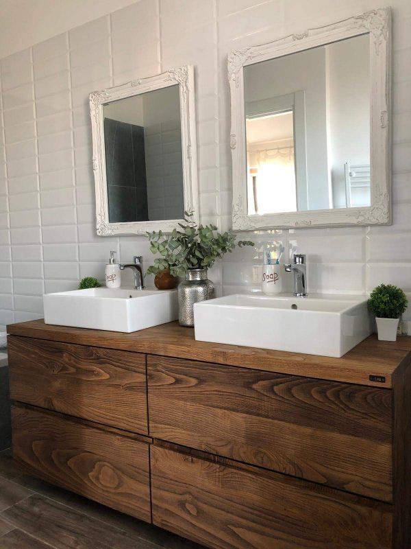 arredo mobile bagno legno rustico con cassetti grandi colore teak