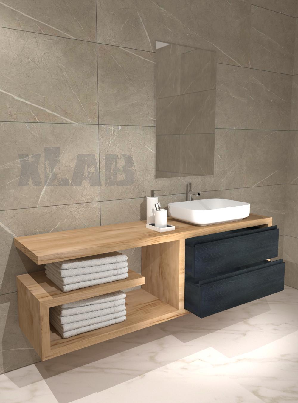 Mobile bagno mensola con cassetto sospeso in legno XLAB Design