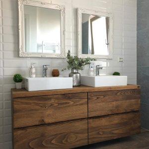 Mobile bagno legno rustico di castagno con cassetti Penelope