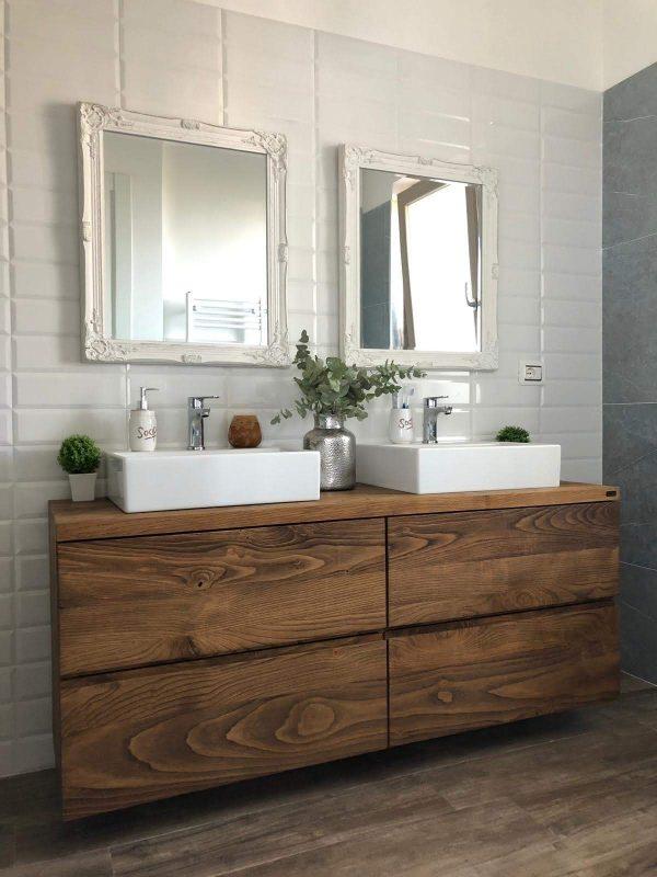 mobile bagno legno rustico con cassetti guide in acciaio estrazione totale legno massello idrorepellente xlab design