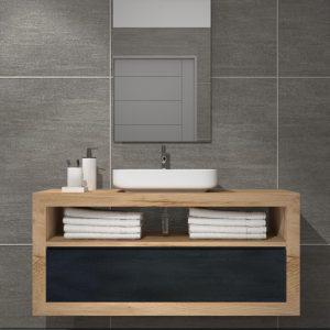 Mobile bagno sospeso in legno massello di castagno Chelsie
