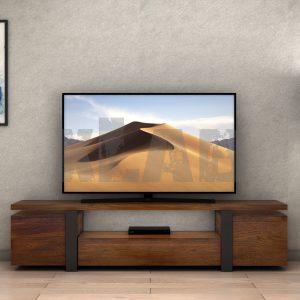 Mobile porta TV stile industriale in legno listellare di castagno Barney