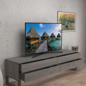 Mobile porta tv di design in legno listellare Hector