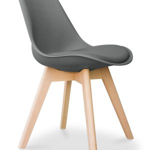 Sedia colore grigio con seduta imbottita Lia