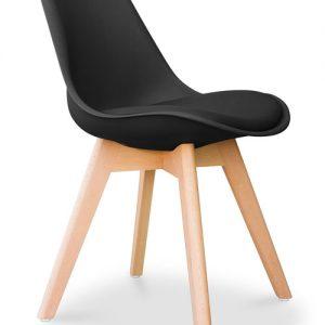 Set 4 sedie nere in plastica ed ecopelle imbottita Tea