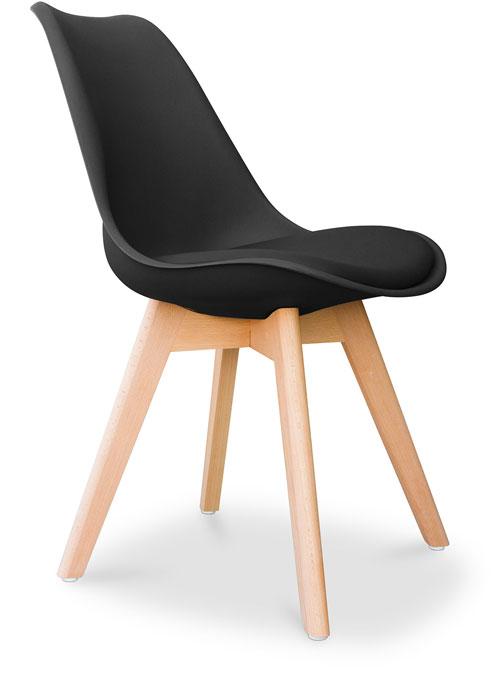 Set di 4 sedie nere in plastica ed ecopelle imbottita for Sedie nere ecopelle