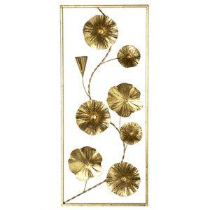Quadro metallo 3D fiori oro