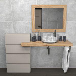 Mensola da bagno con cassettiera e specchio in legno di castagno