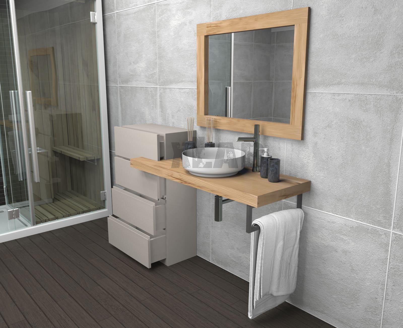 Mensola da bagno con cassettiera e specchio in legno di for Cassettiera bagno