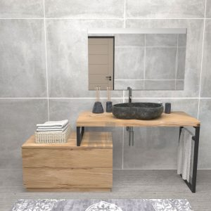 Mobile da bagno in legno stile industriale Oliver