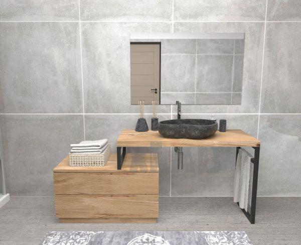 Mensola bagno porta lavabo con cassettiera a terra