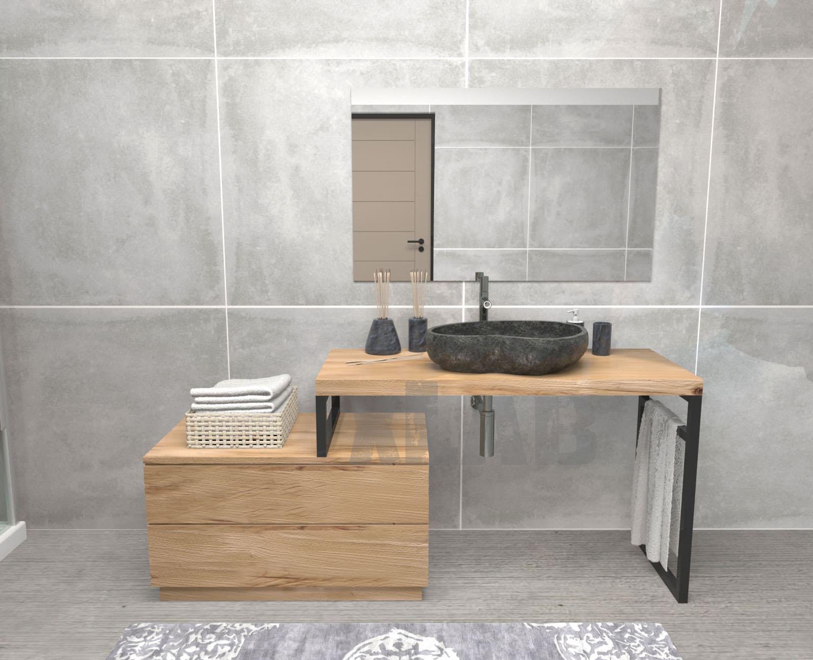spesso Mobile da bagno in legno stile industriale Oliver - XLAB Design ZH88
