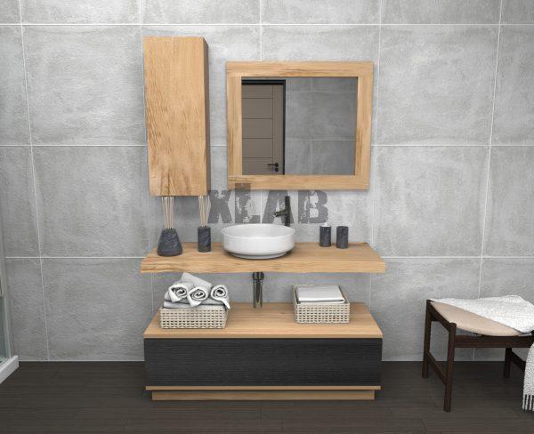 Mobile bagno con pensile, mensola, cassettiera e specchio Dean