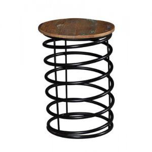 Sgabello molla in legno di riciclo e ferro