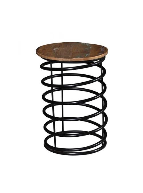 Sgabello in legno di riciclo e ferro
