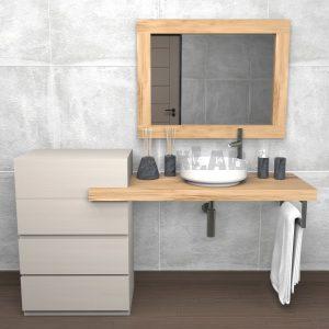 Mensola bagno con cassetti e specchio in legno di castagno John