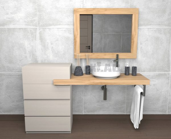 Mensola bagno con cassetti e specchio in legno di castagno