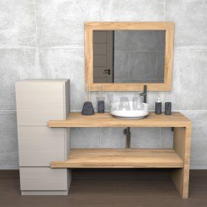 Composizione bagno moderno doppia mensola con colonna Sebastian