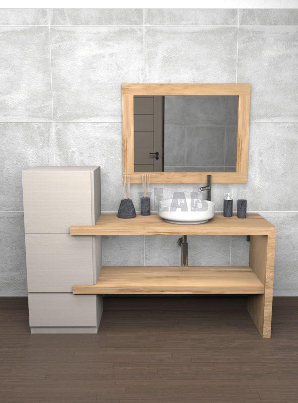 Composizione bagno moderno doppia mensola in legno con colonna e specchio