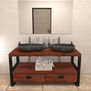 Mobile bagno Old Style stile industriale in legno e ferro con cassetti