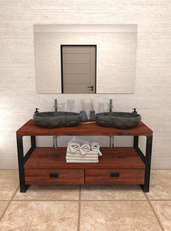 Mobile da bagno Old Style stile industriale in legno e ferro con cassetti