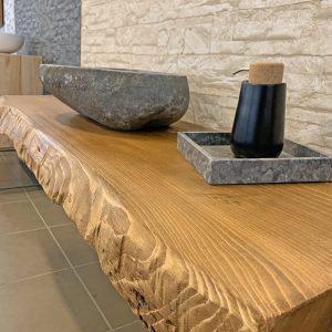 Mensola bagno legno grezzo per lavabo