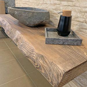 Mensola mobile bagno in legno massello rustico Fiemme
