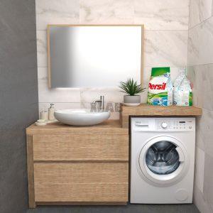 Mobile arredo bagno per lavatrice e lavabo da appoggio Lidia