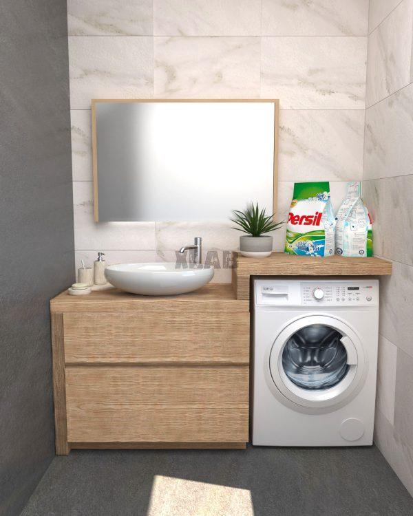 Mobile arredo bagno per lavatrice in legno listellare di castagno
