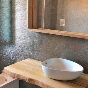 Piano in legno massello per lavabo da appoggio in offerta 120×50 cm naturale