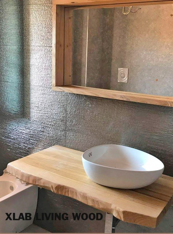Piano in legno massello per lavabo da appoggio