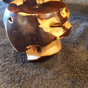 Sgabello pouf in legno stile etnico Stones