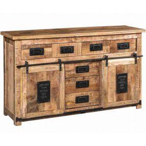Credenza stile industriale legno e ferro Newport ante scorrevoli e cassetti