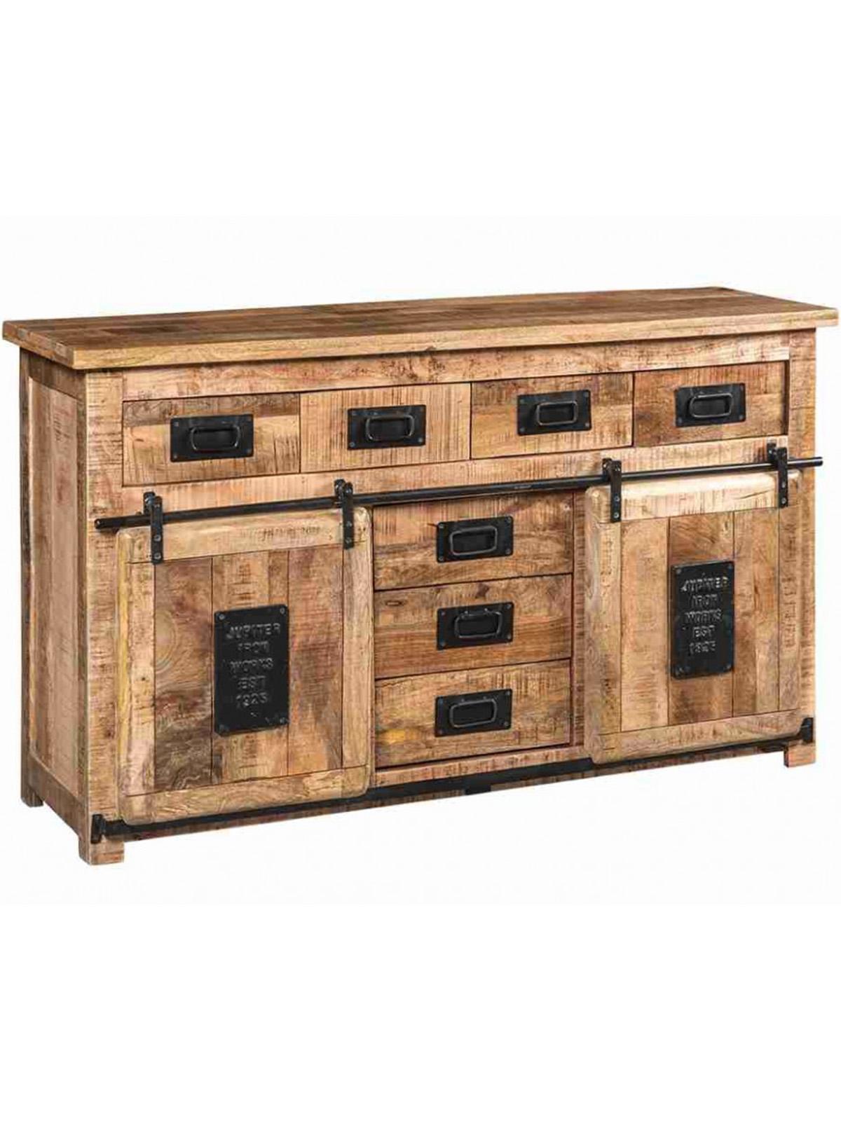 Credenza Cucina Anni 40 credenza stile industriale legno e ferro newport ante scorrevoli e cassetti