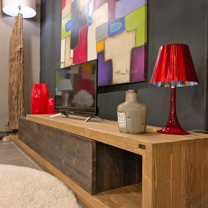 Mobile porta tv in legno effetto rustico Grand Noir Maxi