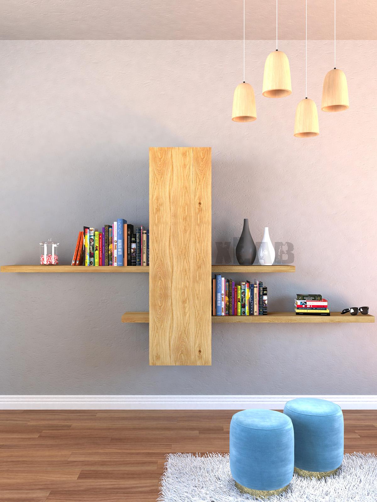 Parete attrezzata da soggiorno sospesa porta TV - XLAB Design