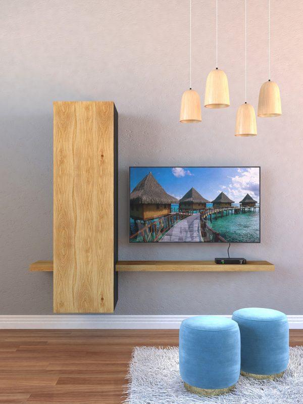 Parete attrezzata da soggiorno porta TV sospesa in legno