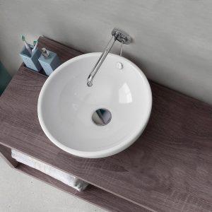 Lavabo a bacinella forma ellittica per mensola appoggio rotondo 40 cm