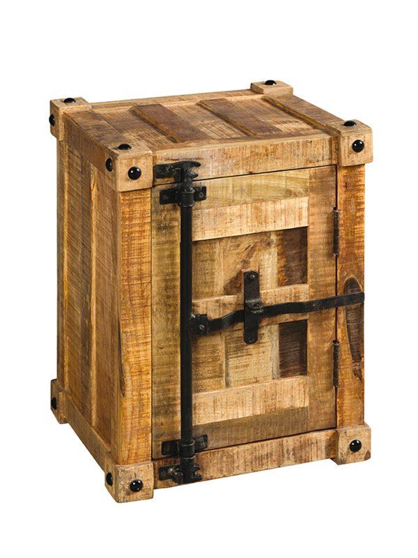 Comodino container in legno con maniglia in ferro