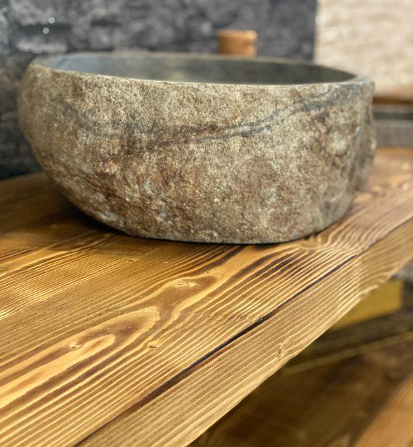 lavabo in pietra per mobile da bagno in legno massello rovere rustico stile industriale