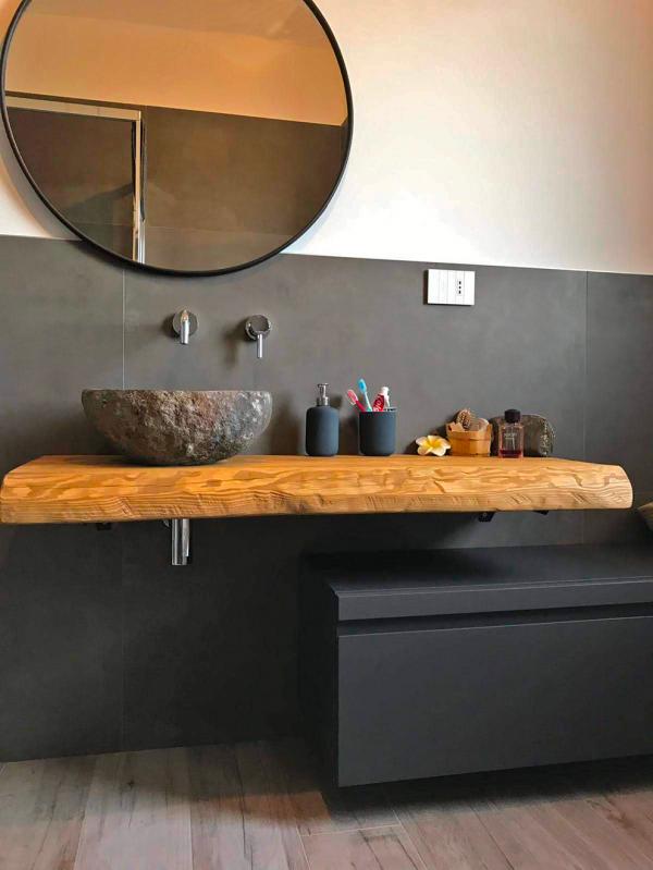 Mobile bagno sospeso 120 cm arredo bagno sospeso con mensola e cassettone nero