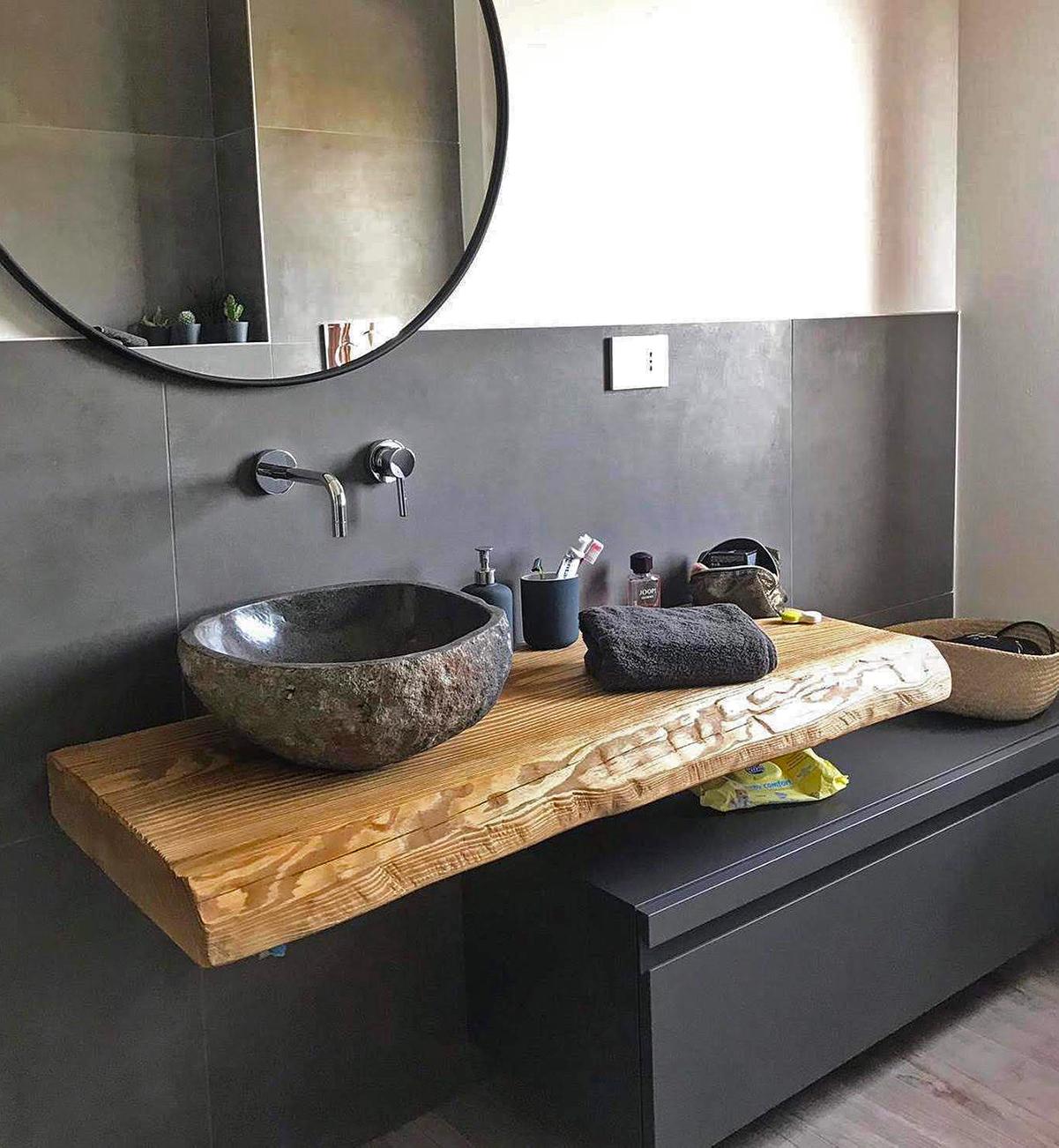Mobile bagno sospeso 120 cm mensola legno per lavabo e for Mobile sospeso bagno