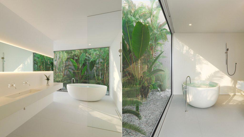 Bagno minimal con vasca