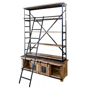 Libreria stile industriale in legno e ferro con scala