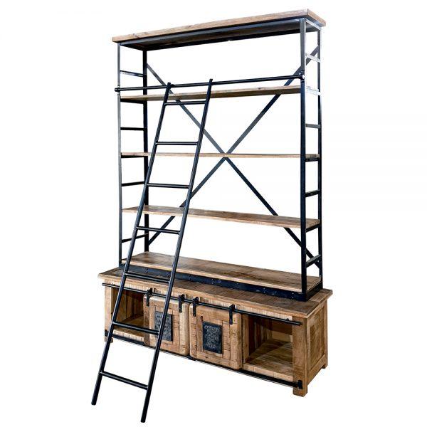 Libreria con scala in legno e ferro linea Newport
