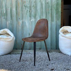 Set sedie ecopelle effetto scamosciato stile industriale