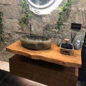 Offerta mobile bagno mensola con cassetto sospeso in legno