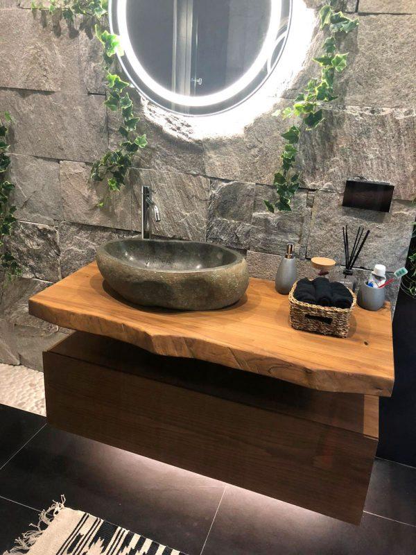 arredo bagno legno massello castagno rovere teak