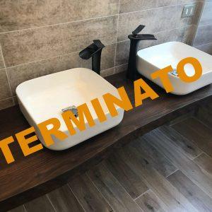 Mensola bagno in legno per lavabo da appoggio 140 cm