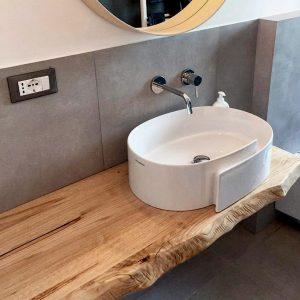Mensola bagno in legno di castagno 80×45 cm
